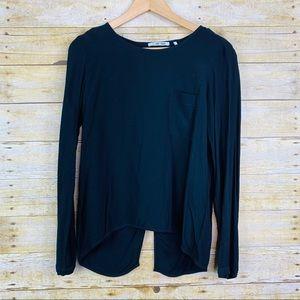 Rich & Royal Long Sleeve Blouse Black size 6